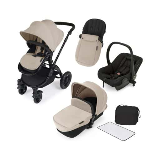 Ickle Bubba Stomp V2 Black Frame 3in1 Travel System-Sand