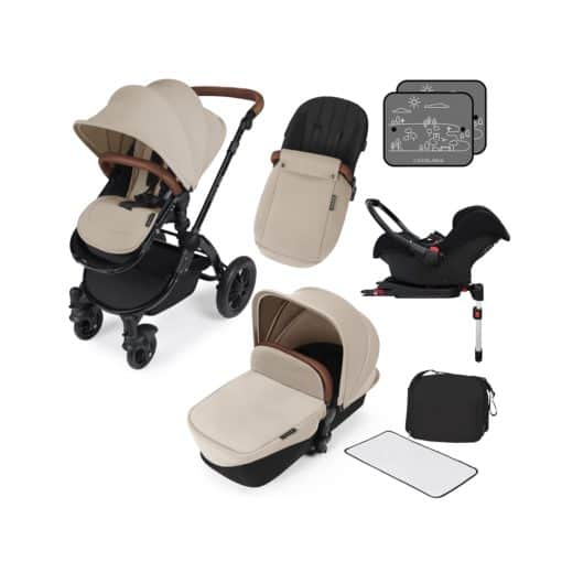 Ickle Bubba Stomp V3 Black Frame Travel System With Galaxy Carseat & Isofix Base-Sand