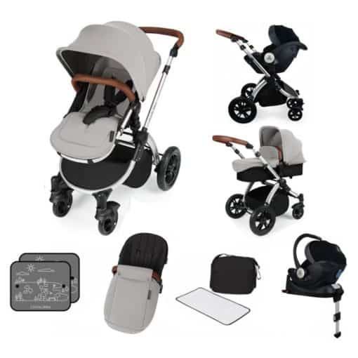 Ickle Bubba Stomp V3 Silver Frame I-SIZE Travel System With Mercury Carseat & Isofix Base-Silver