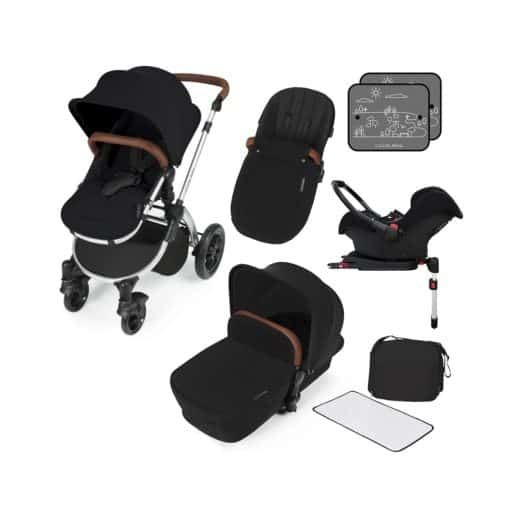 Ickle Bubba Stomp V3 Silver Frame Travel System With Galaxy Carseat & Isofix Base-Black