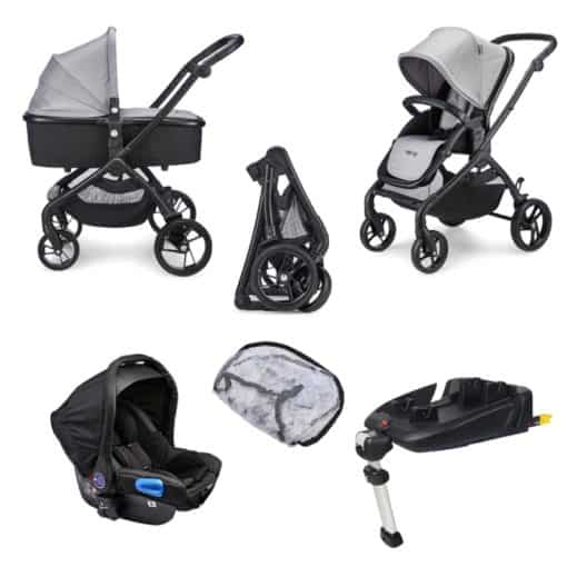 Mee-Go Plumo Travel System-Ash Grey Inc Isofix Base (2021)