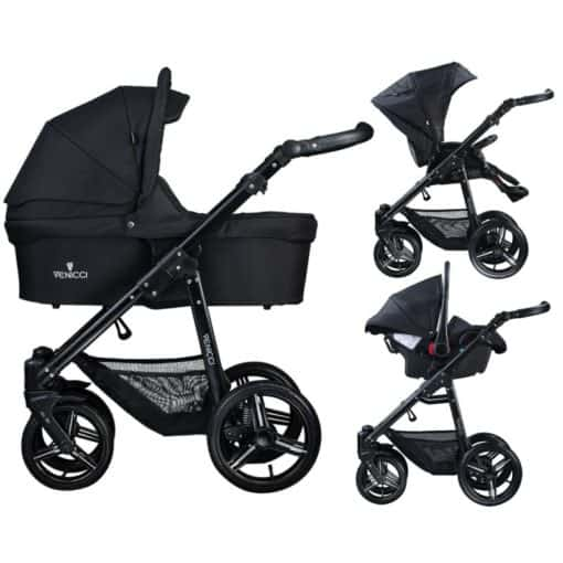 Venicci Soft Black Chassis 3in1 Travel System-Black