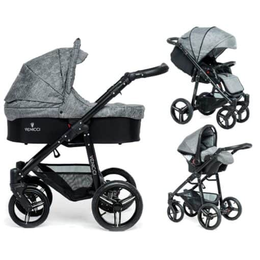 Venicci Soft Black Chassis 3in1 Travel System-Denim Grey