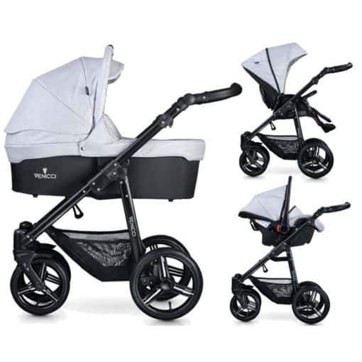 Venicci Soft Black Chassis 3in1 Travel System-Light Grey