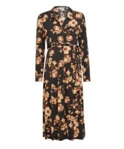 Womens Dp Maternity Black And Yellow Floral Print Shirt Dress, Black