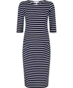 Womens **Dp Maternity Blue Stripe Print Bodycon Dress, Blue