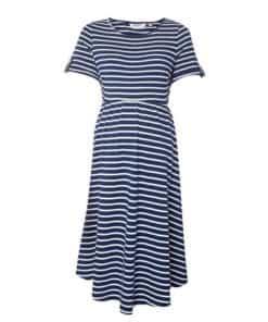 Womens Dp Maternity Blue Stripe Print Dress, Blue