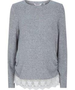 Womens **Dp Maternity Grey Lace Top, Grey