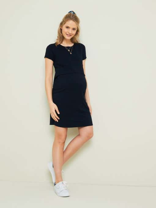 2-in-1 Effect Dress, Maternity & Nursing Special black dark solid