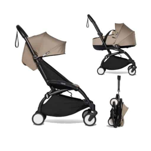 BABYZEN YOYO² Black Frame with Bassinet Complete - Taupe