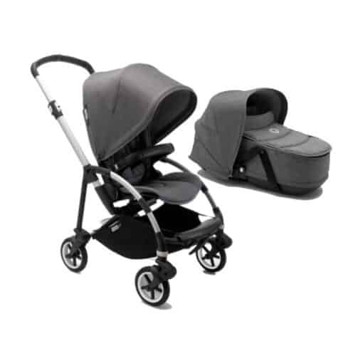 Bugaboo Bee 6 Complete With Carrycot-Aluminium/Grey Melange