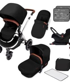 Ickle Bubba Stomp V4 Chrome Frame Travel System With Galaxy Carseat & Isofix Base-Midnight Chrome