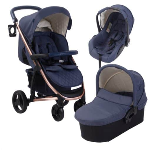 My Babiie Billie Faiers MB200+ Travel System-Rose Gold and Navy (MB200ROSENYPLUS)