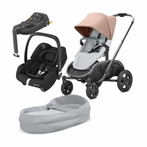 Quinny Hubb Graphite Frame 3in1 Travel System With Tinca Car Seat & Tinca Base-Cork/Grey