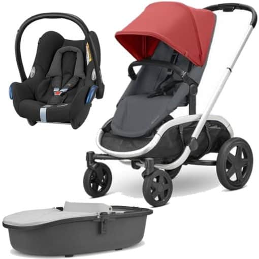 Quinny Hubb Silver Frame 3in1 Travel System-Red/Graphite