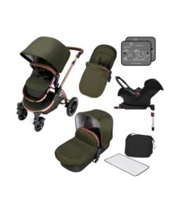 Ickle Bubba Stomp V4 Bronze Frame Travel System With Galaxy Carseat & Isofix Base-Woodland Bronze