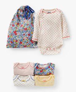 Mini Boden Baby Apple Blossom Floral Print Bodysuit, Pack of 5, Multi