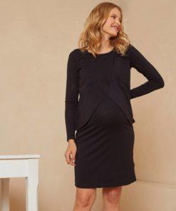2-in-1 Jersey Knit Dress, Maternity & Nursing Special black